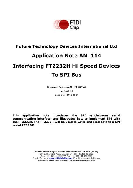 Interfacing FT2232H Hi-Speed Devices To SPI Bus - FTDI