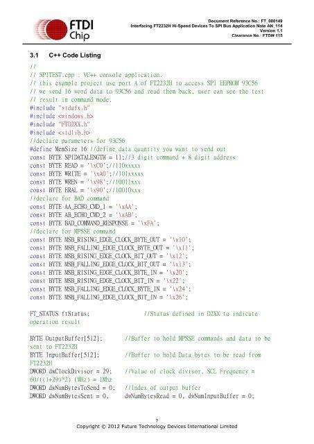 3 1 C++ Code Listing Docu