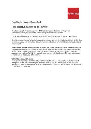 Entgeltbestimmungen für den Tarif: Turka Basta (01.09.2011 bis ...