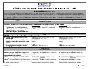 Rúbrica para los Padres de 4º Grado – 1 Trimestre 2012-2013 Artes ...