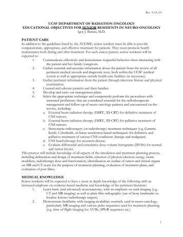 IB Senior Educational Objectives - UCSF Radiation Oncology