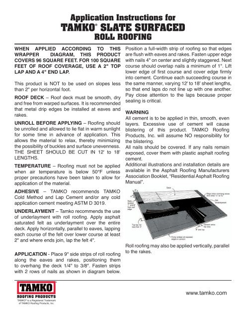 Tamko Roll Roofing Instructions 12 300 About Roof