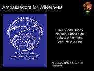 Great Sand Dunes Ambassadors for Wilderness Program Presentation
