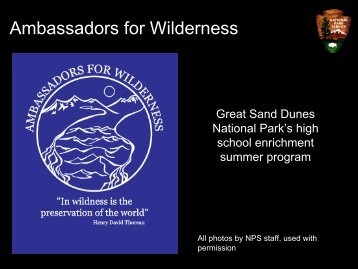 Great Sand Dunes Ambassadors for Wilderness Program Presentation