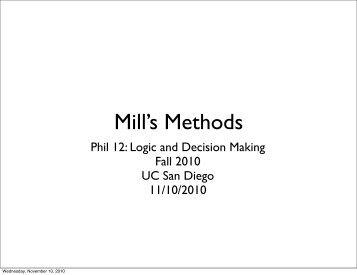 Causal reasoning: Mill's methods - UC San Diego