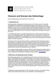 Chancen und Grenzen des Kahlschlags - Schweizerischer ...