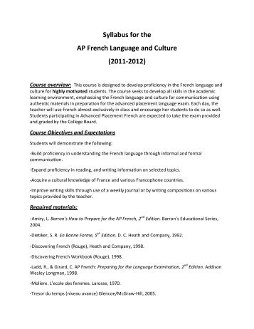 Syllabus for the AP French Language and Culture - Gaston County ...