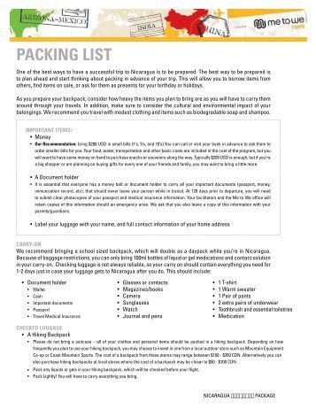 Packing List Nicaragua - 2013 Trips - Free The Children