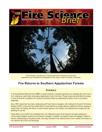 Fire Returns to Southern Appalachian Forests - Joint Fire Science ...