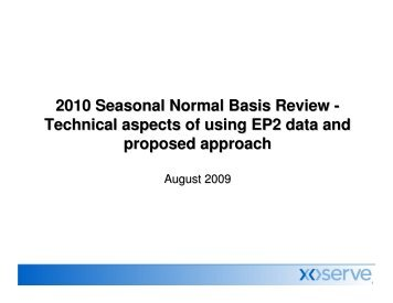 Technical aspects of using EP2 data and proposed approach