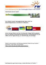 Gemeinsamer Antrag aller Fraktionen - FWG - UBN