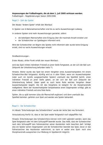Anpassungen der Fußballregeln, die ab dem 1. Juli 2005 wirksam ...