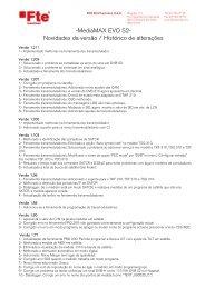 -MediaMAX EVO S2- Novidades da versão / Histórico ... - FTE Maximal