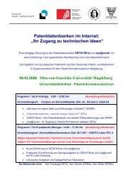 Patentdatenbanken im Internet: ?Ihr Zugang zu technischen Ideen?