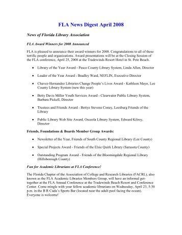 FLA News Digest April 2008 - Florida Library Association