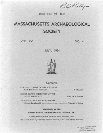 Bulletin of the Massachusetts Archaeological Society, Vol. 15, No. 4 ...