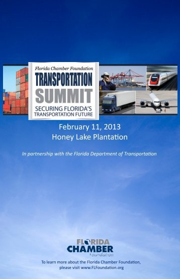 2013 Transportation Summit Program - Florida Chamber of Commerce