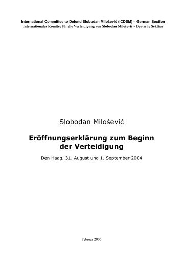International Committee to Defend Slobodan Miloševic (ICDSM ...