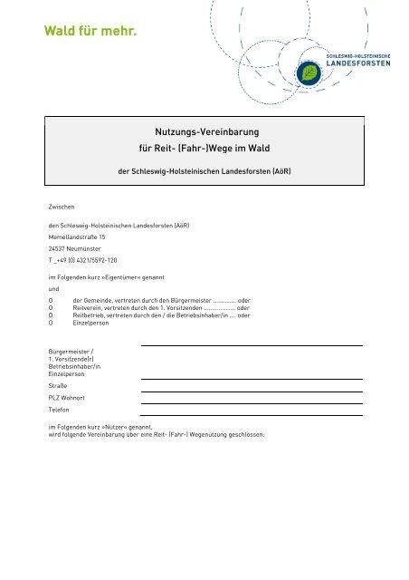 Reitwege-Nutzungs-Vereinbarung Wald - Schleswig-Holsteinische ...