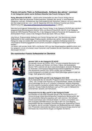 nominiert Die nominierten Franzis Softwaretitel im Überblic