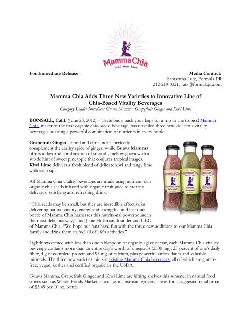 Mamma Chia Adds Three New Varieties to Innovative