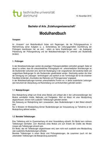 """Bachelor of Arts """"Erziehungswissenschaft"""" Modulhandbuch"""