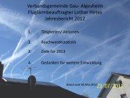 Jahresbericht 2012 des Fluglärmbeauftragten - Verbandsgemeinde ...