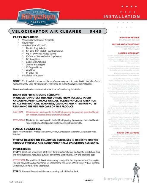 velociraptor air cleaner 9443 - MotoSport