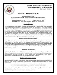 vacancy announcement - the Northern District of Florida
