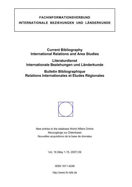 09 2007 1 15 May Fachinformationsverbund Internationale