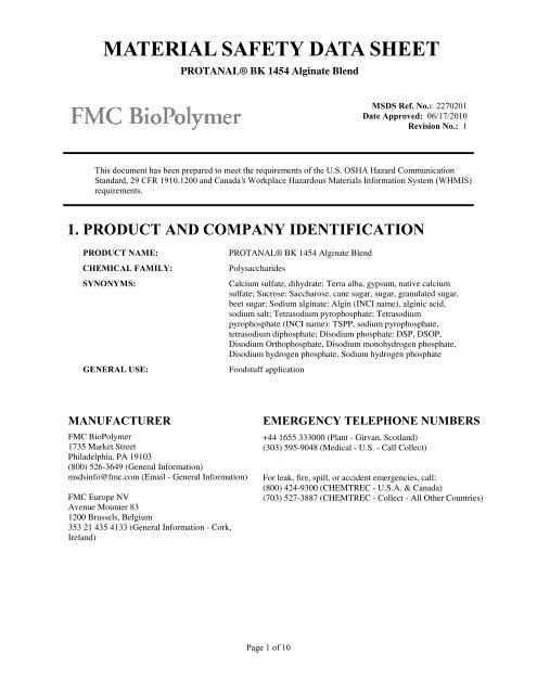 Protanal Bk 1454 Alginate Blend Fmc Corporation