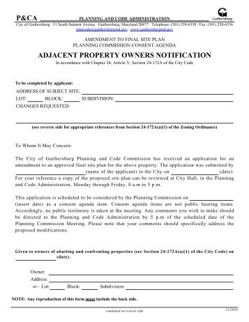 Adjacent Property Owner Notification