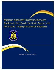 Missouri Applicant Processing Services Applicant User Guide for ...