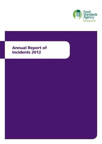 Food Standards Agency Annual Report of Incidents 2012 (pdf 675KB)
