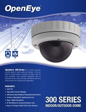 OpenEye's 300-Series line of dome cameras - Galaxy Control Systems