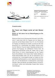 Pressemitteilung Wasserflugzeugbau AERO - Friedrichshafen