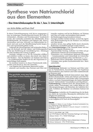 Synthese von Natriumchlorid aus den Elementen - Friedrich Verlag