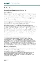 Medienmitteilung Generalversammlung der GAM Holding AG