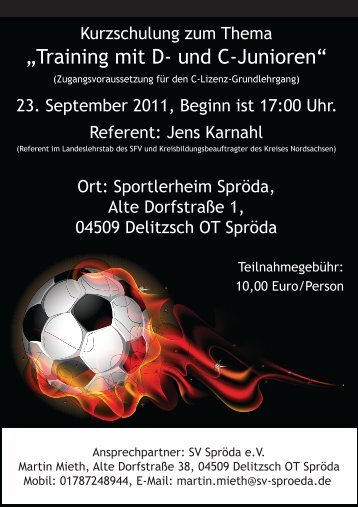 """""""Training mit D- und C-Junioren"""" - Fussballverband Stadt Leipzig eV"""