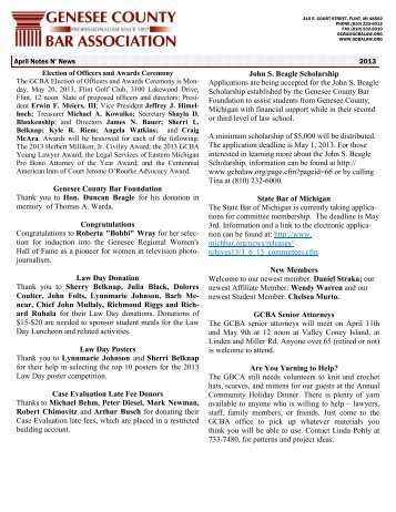 April 2013 Notes N' News website - Genesee County Bar Association