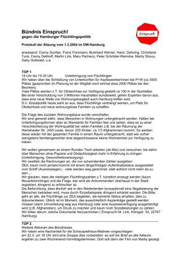Protokoll vom 1.03.2004 - Flüchtlingsrat Hamburg