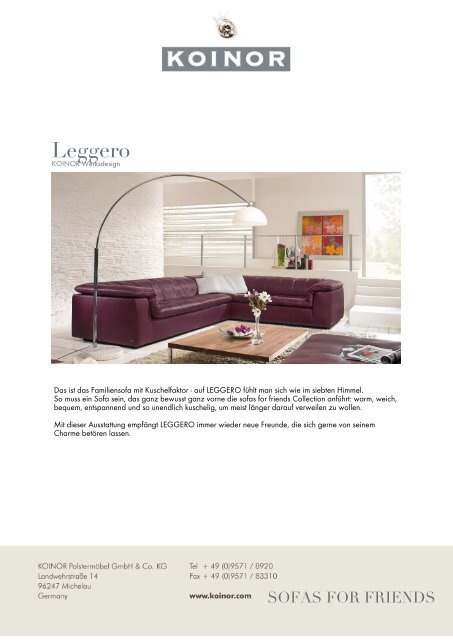 KOINOR - SOFAS FOR FRIENDS: Leggero