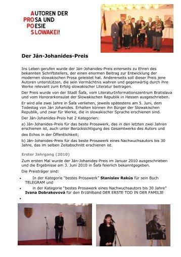 Der Ján-Johanides-Preis - Frankfurter Presseclub