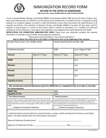 Proof of Immunization Compliance Form with Instructions