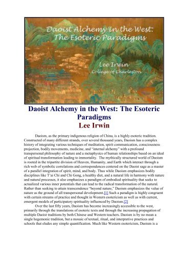 the daoist practice of alchemy Daoist alchemy in the west: the esoteric paradigms  daoist alchemy was first introduced through the  in order to explain daoist esoteric thought and practice.