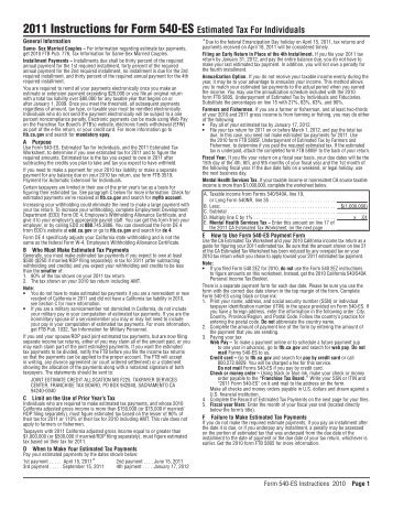 Instructions For Form 540 California Franchise Tax Board