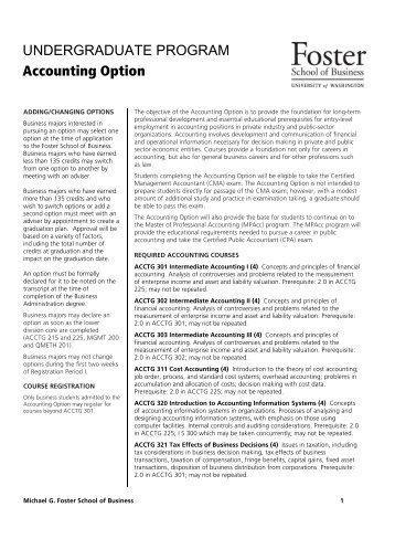 Undergraduate Programs - University of Washington Foster School ...
