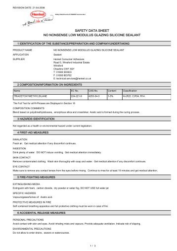 safety data sheet no nonsense low modulus glazing silicone sealant