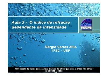 í Aula 3 – O índice de refração dependente da intensidade