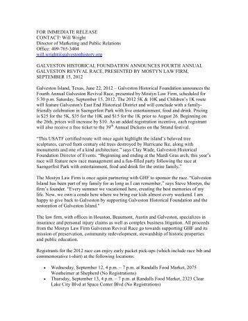 galveston historical foundation announces fourth annual galveston ...